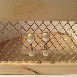 Gold Tone Cream Fashion Earrings
